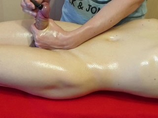 Awesome Oiled Handjob Coupled With Cum Control. My Phase Non-natural Far My Cock